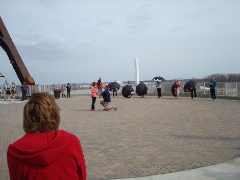 Surprise proposal at the landing of the ramp. She said yes.