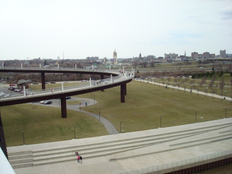 The ramp leading up to the bridge
