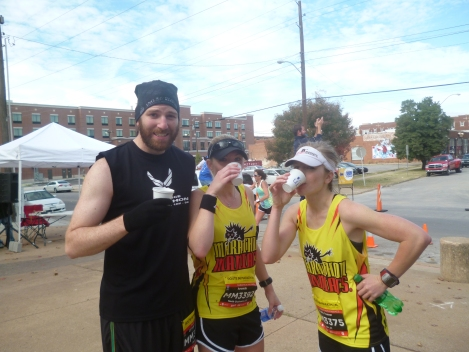 T-Rex and friends enjoying mid-race refreshments at the  2013 Route 66 Marathon