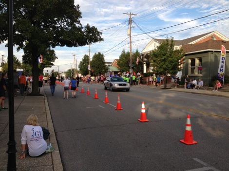 Looking down the street toward the start line