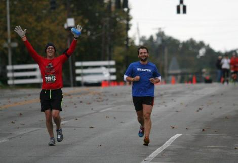 Stew and I on the way to the finish line. Thanks, Stew's mom, for this pic.