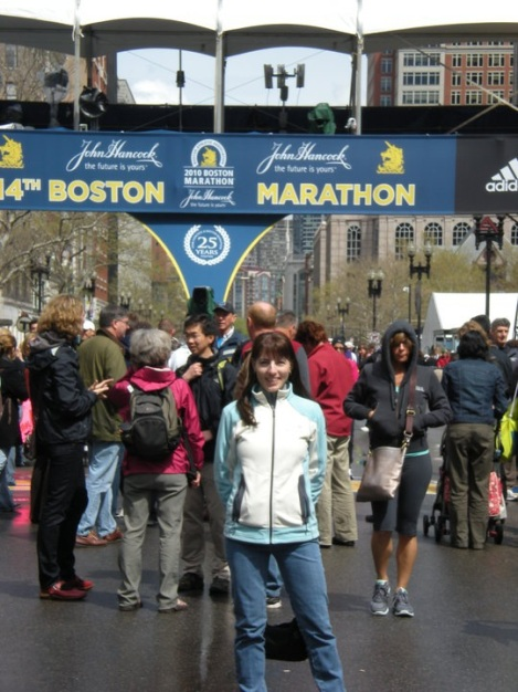Posing near the finish line of the Boston Marathon the last time Tammy ran it in 2010.