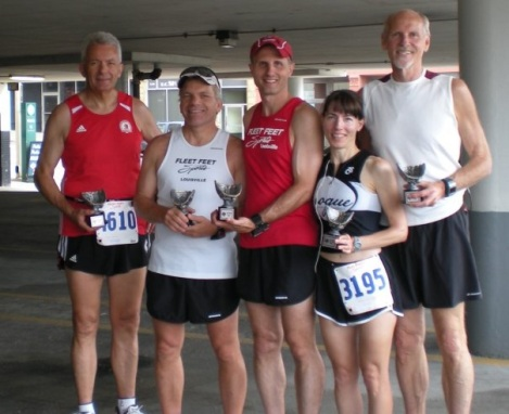With friends Manfred, Dean, Eric and Fred, displaying their awards at the 2009 Red Legs 5k in Cincinnati.