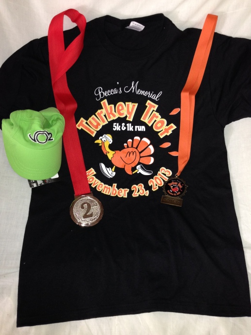 A shirt, a hat and two medals. Nice race.