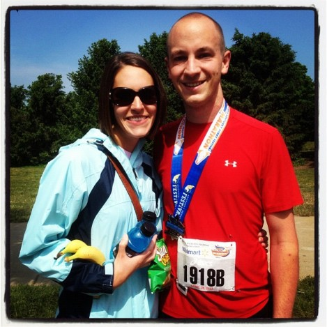 Mary Margaret and Brad celebrating the successful finish of 26.2 miles.